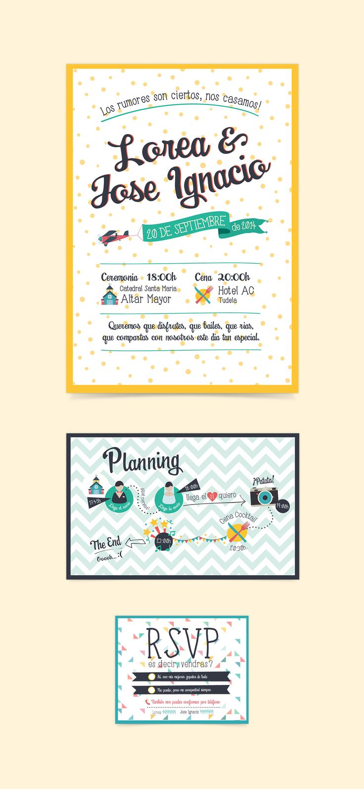 Funny and colour wedding Invitation by www.bogartybacall.com