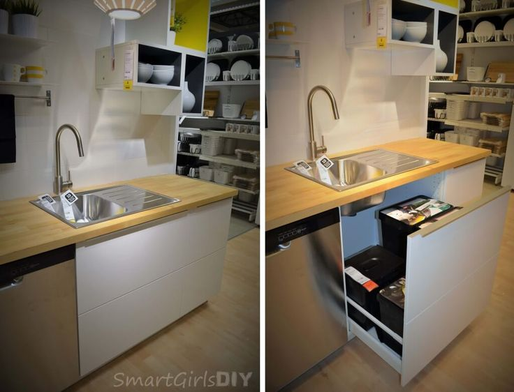 Nice IKEA SEKTION sink base cabinet ud under the sink pull out disguised as two drawers