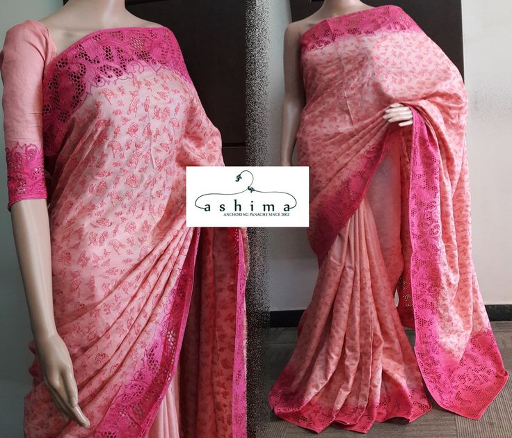 Code:2409172 - Price INR:13900/-  , Tussar Silk Saree With Full Embroidered Body And Cutwork Border.