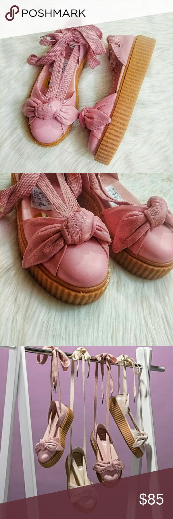 Puma Fenty Rihanna Bow Lace Up CreepersPuma Fenty New, No box. Fenty Puma by Rihanna Bow Lace Up Creeper Sandals. Size 7M.   Light Brown leather upper. Lace up straps. No dust bag or box. No Trades. Super comfy and true to size   021418/70 Puma Shoes