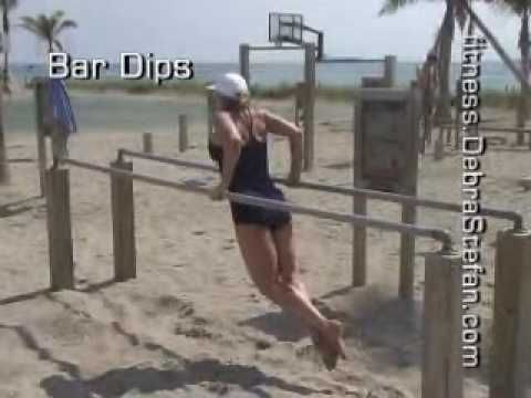 Parallel Bar Dips-Instructional Demo by Debra Stefan, Personal Trainer Henderson, NV 89011