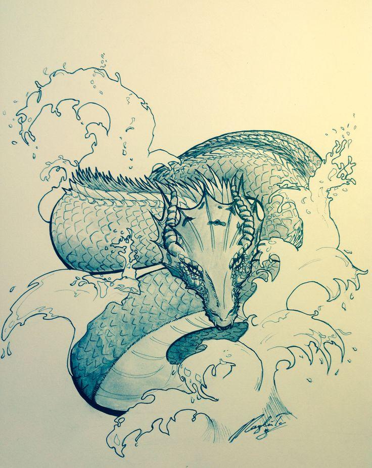 Water dragon  Ink watercolour