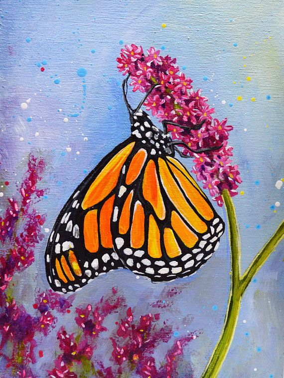 Original Monarch Butterfly Acrylic Painting | Butterfly ...