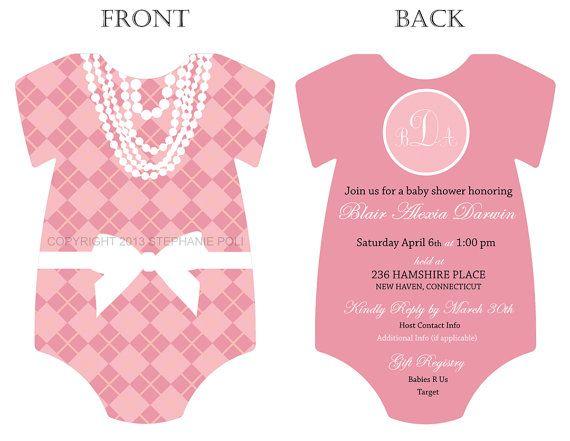 diy preppy argyle monogram onesie baby shower invitation printable from darling loves dapper