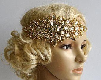 Aleta de diamantes de imitación de Glamour oro Gatsby venda, venda de cristal de la boda, diadema de aleta tocados boda, tocados de novia, década de 1920