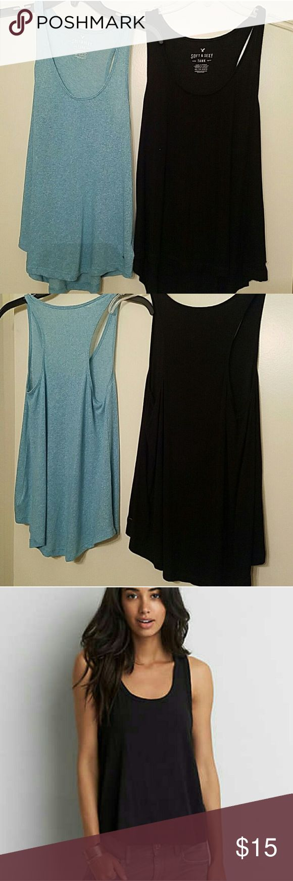 Two American Eagle Loose Tank Tops Two American Eagle tanks. One is sky blue and the other is black! Very cute just not my size :( American Eagle Outfitters Tops Tank Tops