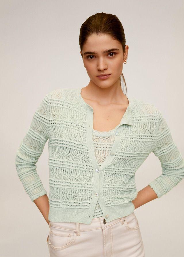 Openwork knit cardigan Women   Mango USA in 2020