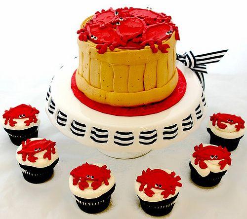 Bushel of Crab Cake and Cupcakes via Caroline's Cakes on thecupcakeblog.com