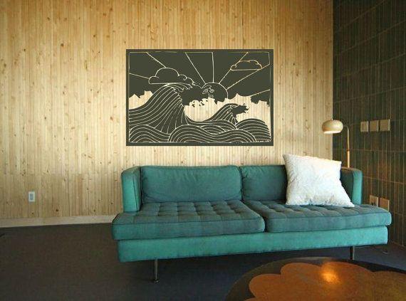 Retro-Strand Dekor - Ocean Waves mit Morning Surf - umgekehrt - Vinyl Kunst Wandtattoo von 3rdaveshore 85
