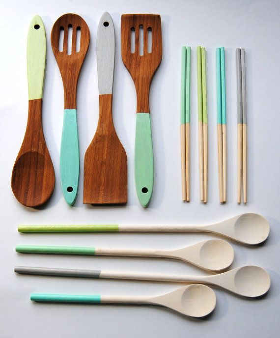 SEA URCHIN Collection - Housewarming Set - Dipped Chopsticks, Cooking Spoons, Bamboo Servers - Blue, Gray, Green, Mint