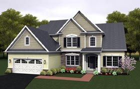 Elevation of Cape Cod   House Plan 54080