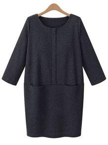 Тёмно-серое свободное платье с карманами