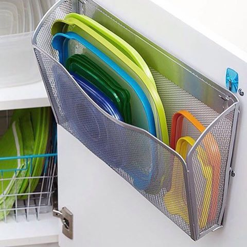 Plastic container lid organization system, using office supply file/mail wire mesh or clear plastic holders