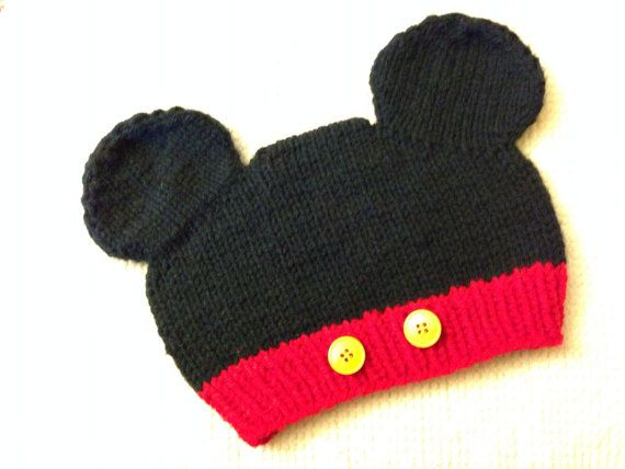 Knitted Minnie Mouse Hat Pattern : Mickey Mouse Knit Hat on Etsy, USD20.00 crochet Pinterest Best Knit hats,...