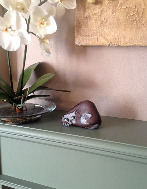 Hand Painted River Rock Cat Petrified Cat by qvistdesign on Etsy, $18.00