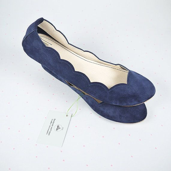 These are lovely! Navy Blue Soft Suede Scalloped Handmade Ballet by elehandmade.