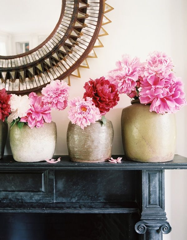 mantle and cut flowers