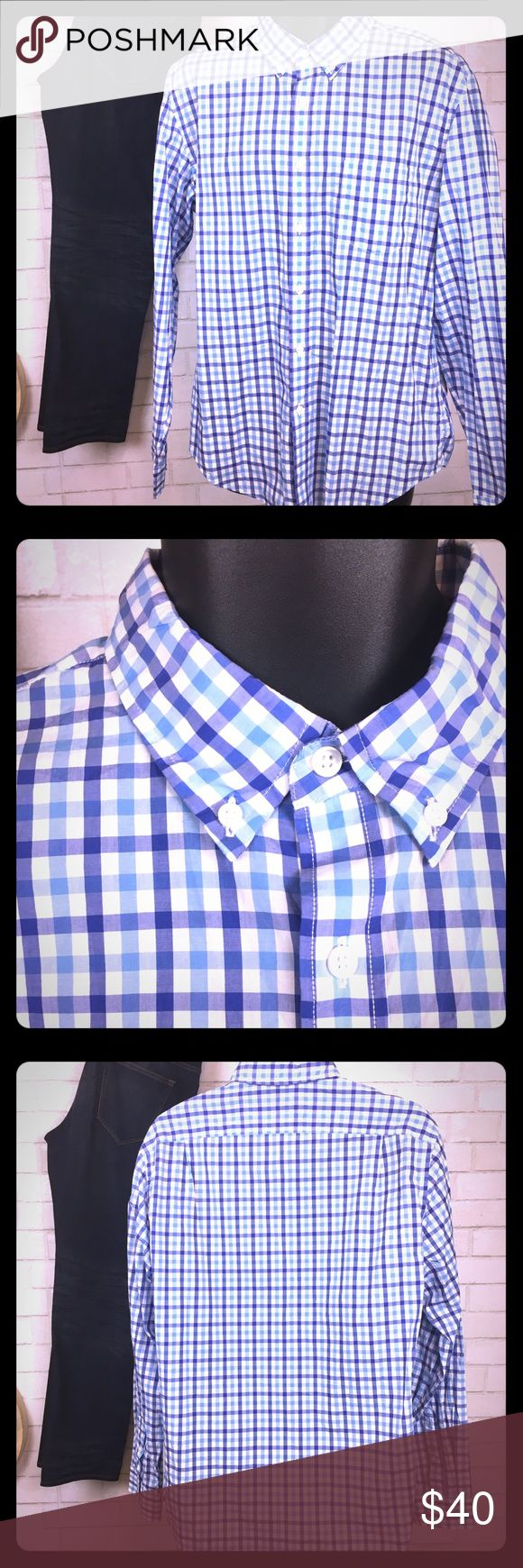 J.Crew Light Weight Cotton Button Down Great condition shirt, only stain is small sharpie line through tag, see photos. No other stains or tears. Plaid design with purple and blue. J. Crew Shirts Dress Shirts