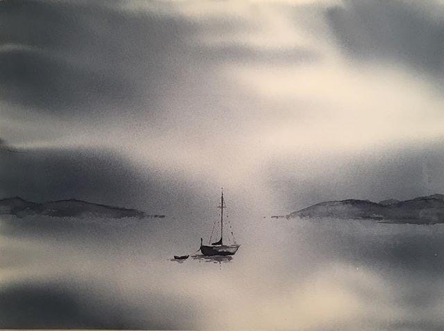 Båt på väg in från havet #watercolor #art #akvarell #watercolour #boat #båt #dimma #fog