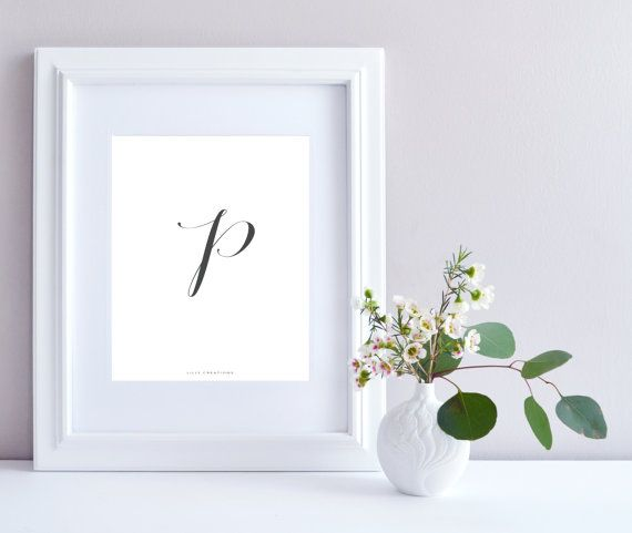 Initial P art print  Initial Print by LillyCreationJewelry on Etsy