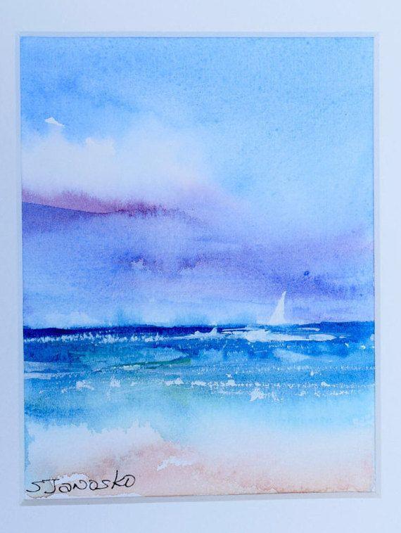 Original coastal watercolor painting Seascape by MahiDesigns1