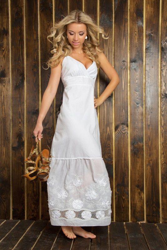Женское летнее платье длинное макси из хлопка   Белое