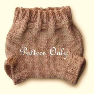 No tie wool diaper soaker cover . Knitting pattern . 3 sizes included . birth to 30 lbs . baby and toddler