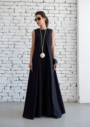 Negro Maxi vestido blando largo vestido/Plus tamaño vestido Kaftan/largo negro/sin mangas vestido/Maxi negro vestido/de gran tamaño negro Kaftan/Maxi vestido negro Más
