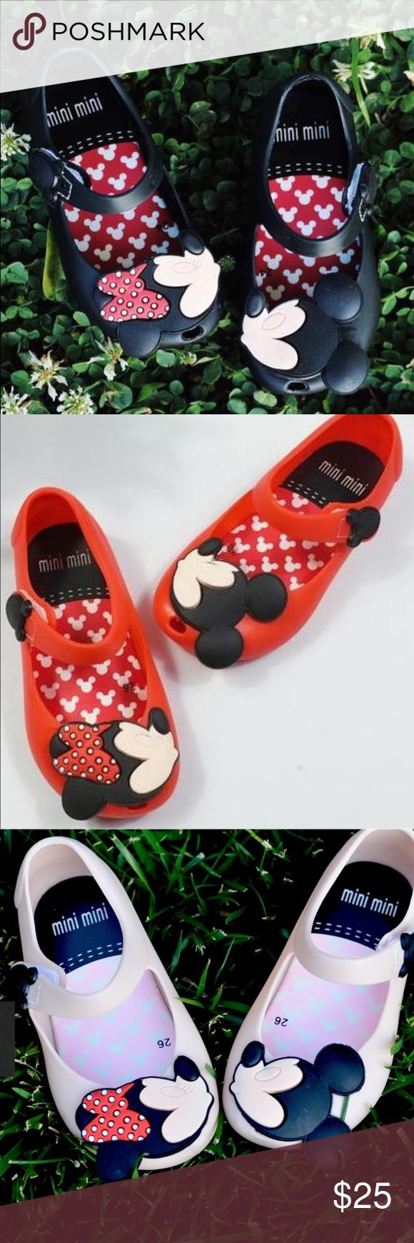 Mickey Minnie jellies Adorable ,New, no flaws ❤not mini Melissa ❤used for reference. Great quality , I've had no complaints or problems  with these shoes . All threee colors available Mini Melissa Shoes Sandals & Flip Flops