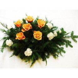 Palma biały goździk i herbaciana róża