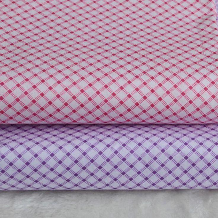 1 метр 2 шт./лот новый свежий розовый фиолетовый косой плед проверить ткани 100% хлопок саржа ткани DIY для домашнего декора лоскутное полотно