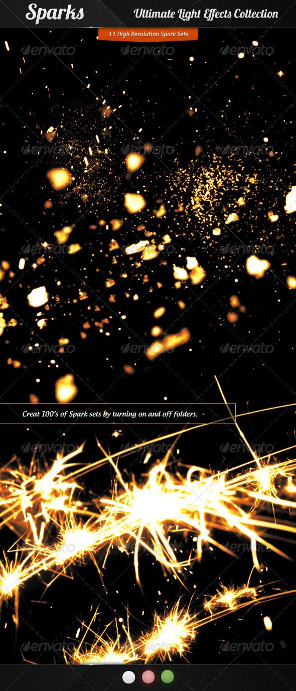 Ultimate Light Effects Collection (Sparks)  #GraphicRiver          Description  This is the fifth part of Ultimate Light Effects Collection 'Sparks'. Item Includes 11 different high quality spark sets in transparent png and psd formats. Add magic sparkling effects to your design, great for graphics, fryers, posters, backgrounds, wallpapers etc. Very easy to use, just turn on and off folders. Combine multiple folders together and create even more magical effects. Files Included   1 PSD file…