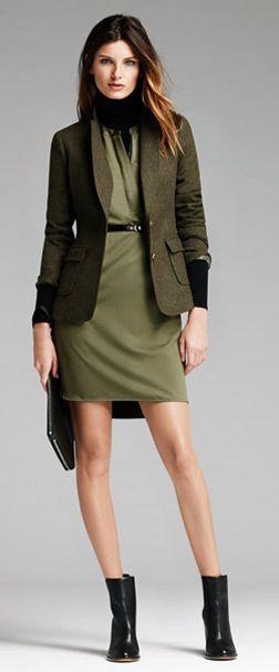 Tweed hacking blazer + army green dress + black turtle + black shoes - Banana Republic Fall 2014