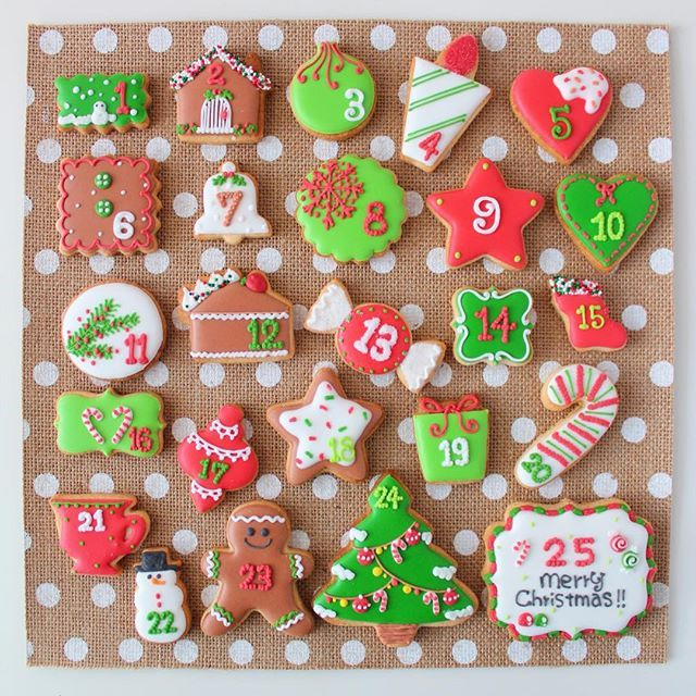 Advent calendar icing cookie set // ycsweets
