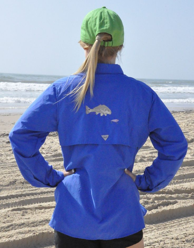Lady G Fishing Women's Fishing Shirt Embroidered with Redfish - Vivid Blue Columbia