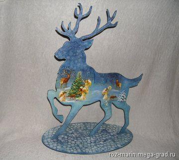 Олень. Новогодняя интерьерная композиция. - изделия из дерева, авторские новогодние и  рождественские подарки. МегаГрад - мега-портал авторской ручной работы
