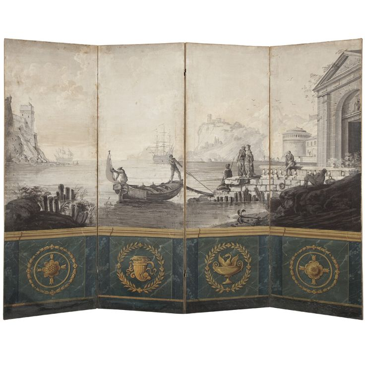 Neoclassical  Four Panel Screen Early 19th Century | From a unique collection of antique and modern decorative objects at http://www.1stdibs.com/furniture/more-furniture-collectibles/decorative-objects/