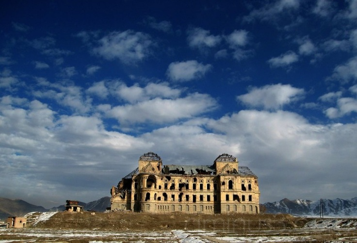Darul Aman Palace, Kabul, Afghanistan    Darul Aman Palace is a European-style palace, now ruined, located about sixteen kilometers (ten miles) outside of the center of Kabul, Afghanistan