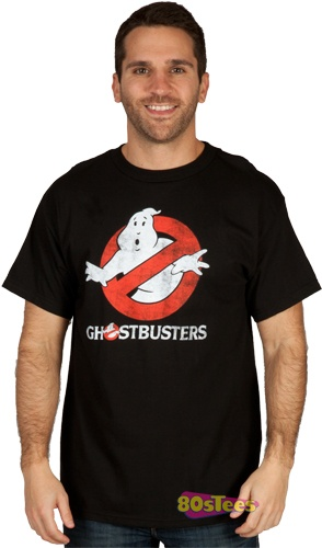 This Ghostbusters shirt features a distressed version of the movie logo. The white portion of the design glows in the dark.