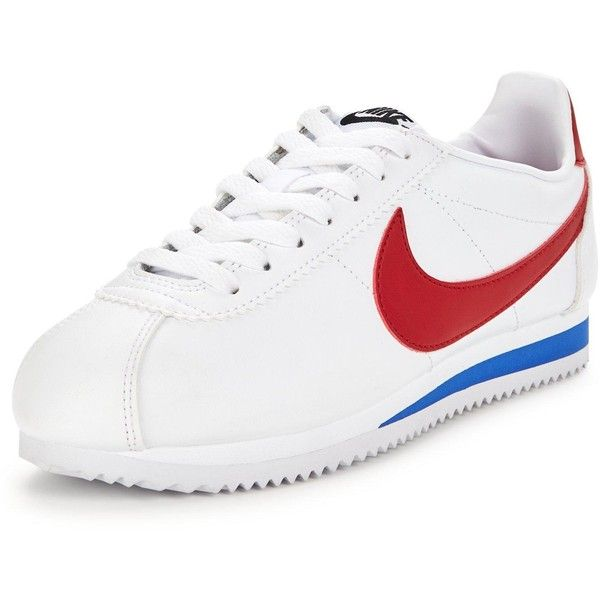 Nike Classic Cortez Leather ($67) ❤ liked on Polyvore featuring shoes, genuine leather shoes, herringbone shoes, vintage shoes, wedges shoes and fleece-lined shoes