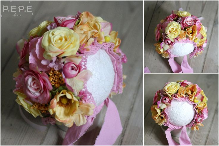 Newborn floral bonnet, newborn photo props, flowers, spring bonnet, newborns photo props