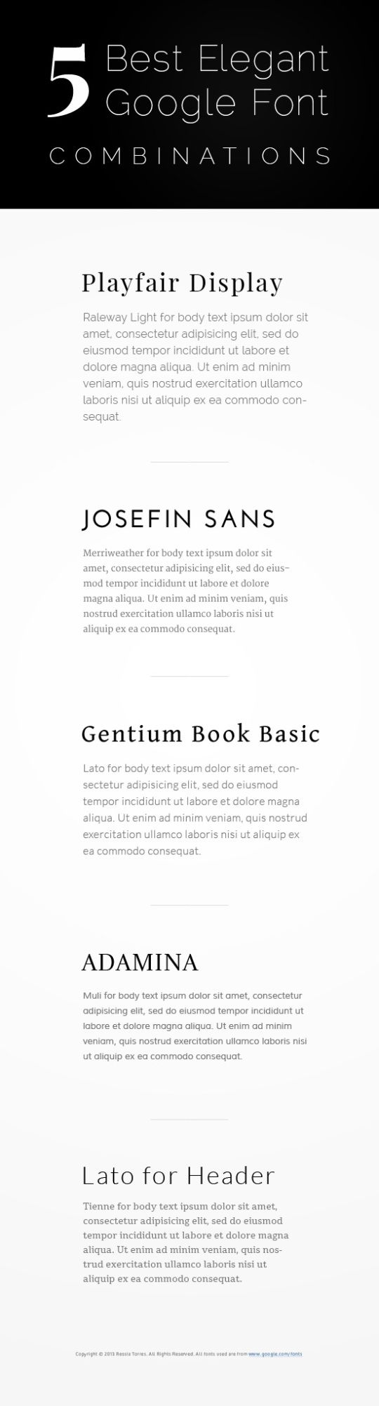 5 best google font combinations- I love Josefin Sans, use it all the time!