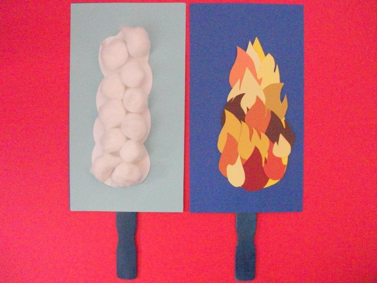 """Pillar of cloud by day, pillar of fire by night. This craft is 6"""" wide card stock taped to a paint stick. The cloud side is cotton balls glued to a cloud shape. I cut flame shapes from paint sample papers, which the kids glued to a large yellow flame, then that was taped to the dark blue side."""