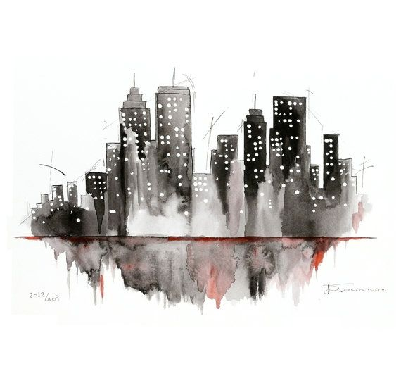 Black and wite NY City painting New York watercolor by aquatory, $115.00