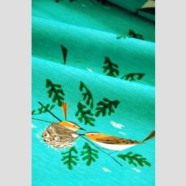Red Eye Vireo - Charley Harper Knits - Cotton Jersey - Birch Organic Fabrics