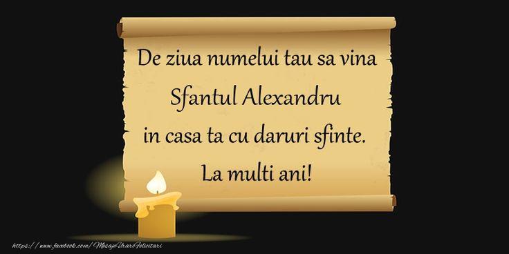 De ziua numelui tau sa vina Sfantul Alexandru in casa ta cu daruri sfinte.  La multi ani!