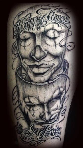 Skull Drama Face Tattoo: Laugh Now Cry Later Masks Tattoo Image