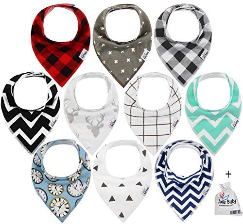 10-Pack Baby Bandana Drool Bibs for Drooling and Teething, 100% Organic Cotton, Soft and Absorbent, Hypoallergenic Unisex Bibs for Baby Boys & Girls - Baby Shower Gift Set by Ana Baby - PROBLEMS WITH TRADITIONAL BIBS: PARENTS, AREN'T YOU SICK OFF ALL THESE PROBLEMS? -Bibs that are uncomfortable and scratch your baby's skin, -Bibs with plastic that can be dangerous and damage other pieces of clothing in the laundry, -Bibs that super stiff meaning they don't lie flat, bunch up in ...