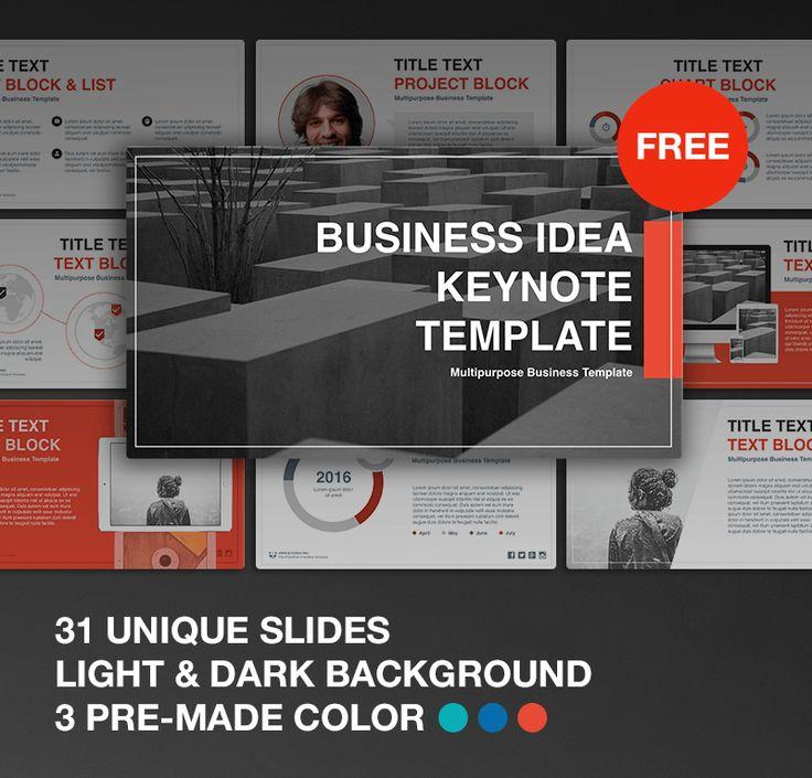FREE Download. Business Idea free Keynote template. #marketing #key #keynote #freebies #free #download #flat #red #emerald #presentation #template #blue #design