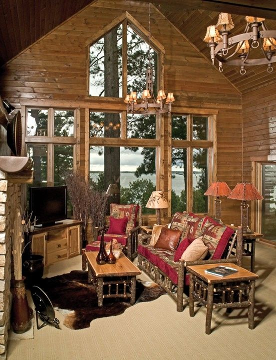 log living room hickory gathering room example rustic log furniture cabin 11499